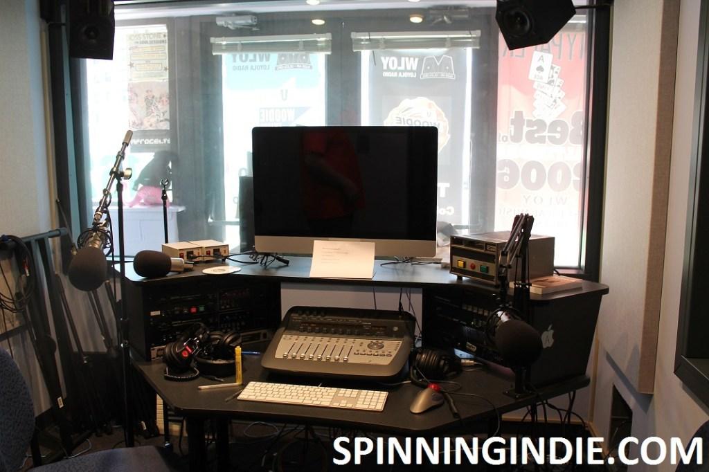 production studio at college radio station WLOY