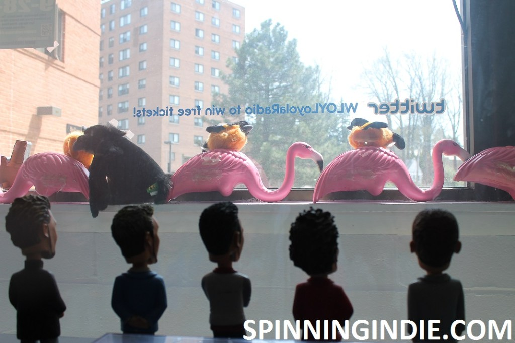 Bobbleheads and flamingos at college radio station WLOY
