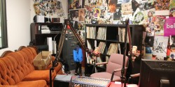 college radio station Bellarmine Radio studio, including a couch