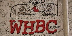 anniversary banner at college radio station WHBC