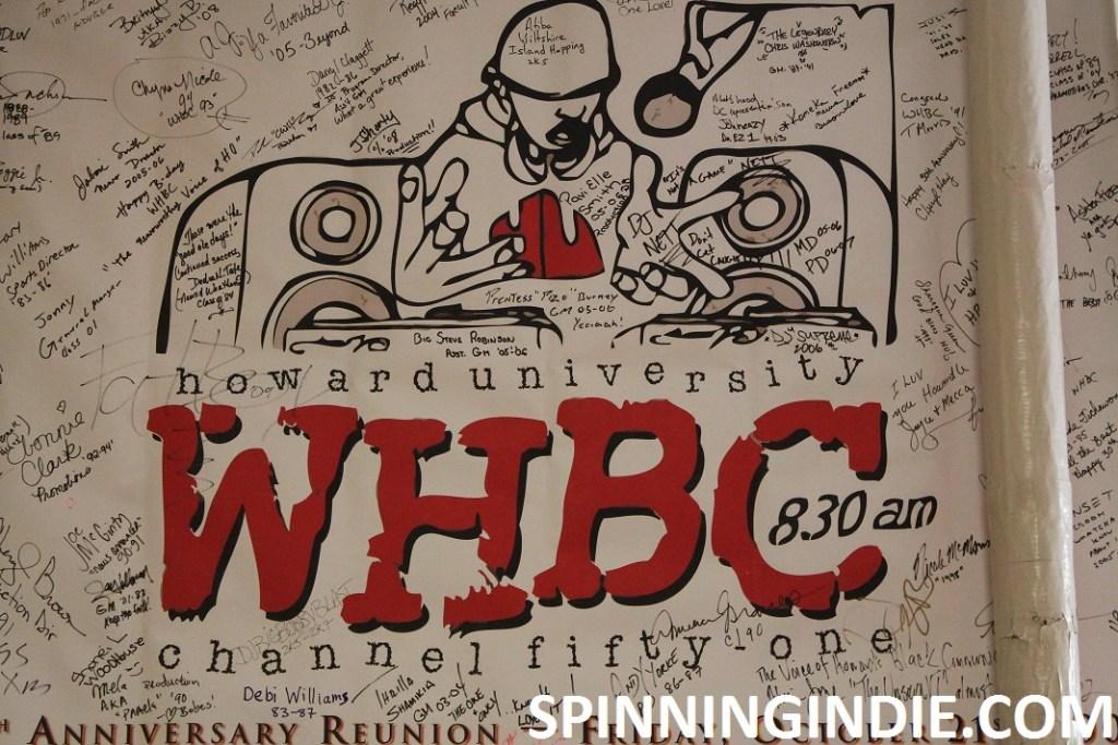 anniversary banner at college radio station WHBC
