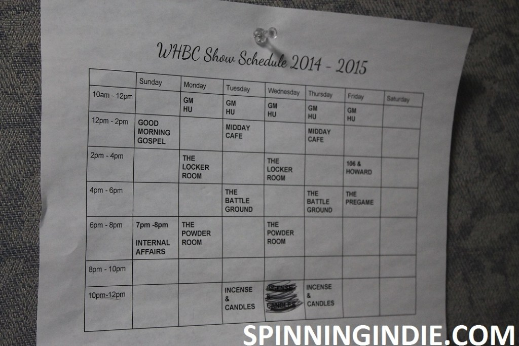 college radio station WHBC's 2014-2015 show schedule