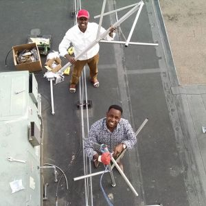 Getting the KALY ready antenna for installation [photo: Prometheus Project]