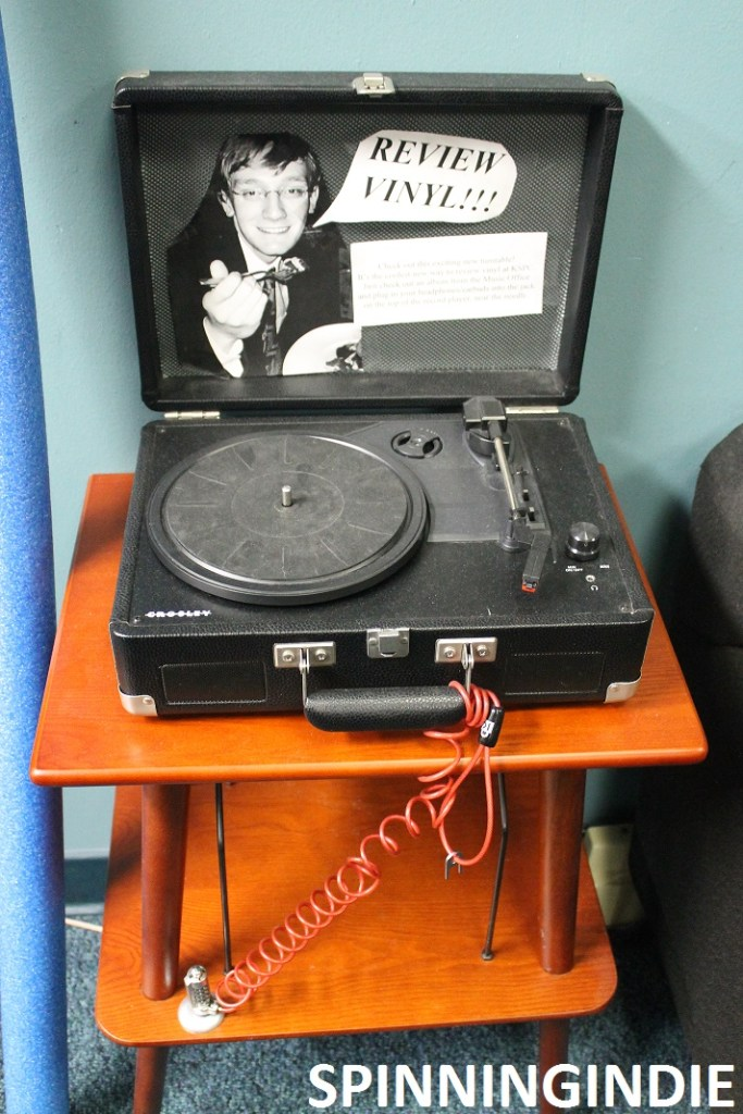 Turntable in KSPC lobby for reviewing vinyl. Photo: J. Waits