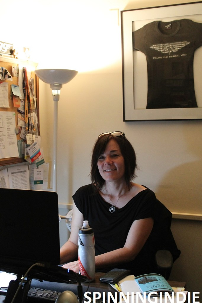 Erica Tyron in her office at KSPC. Photo: J. Waits
