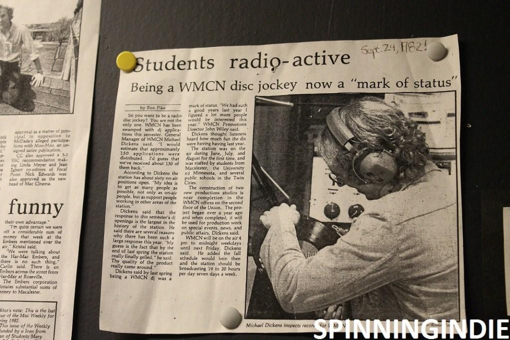 WMCN article on wall at station. Photo: J. Waits