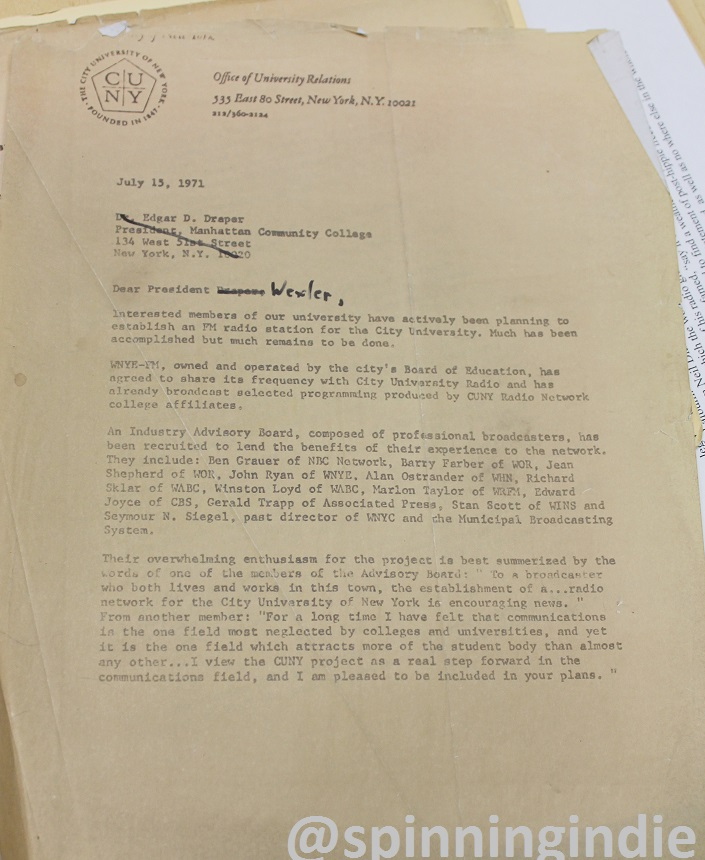1971 letter spotted at WHCS. Photo: J. Waits