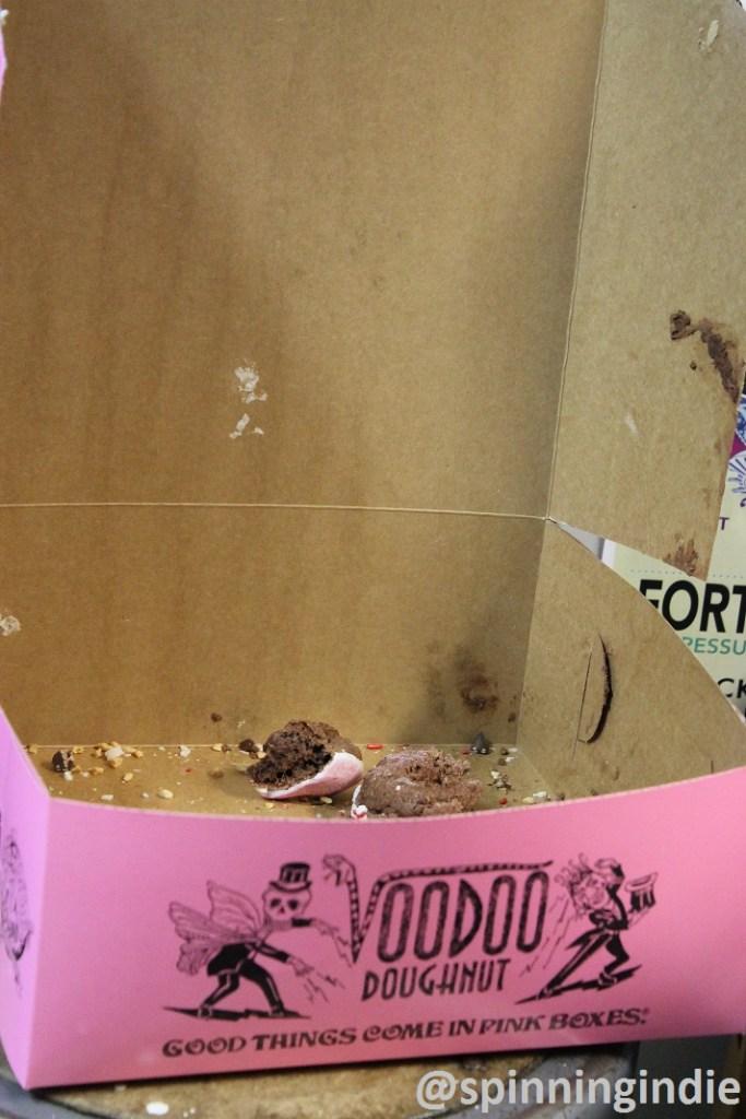 Voodoo Donuts box at college radio station KWVA at University of Oregon. Photo: J. Waits