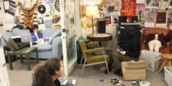 Music office at college radio station WPRB. Photo: J. Waits
