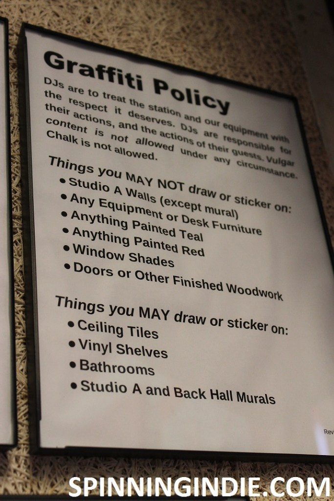 Graffiti policy at Tufts University's college radio station WMFO. Photo: J. Waits