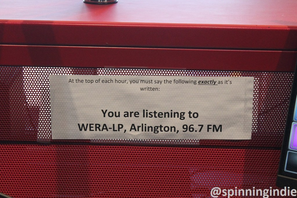 WERA-LP's legal ID posted in radio station studio. Photo: J. Waits