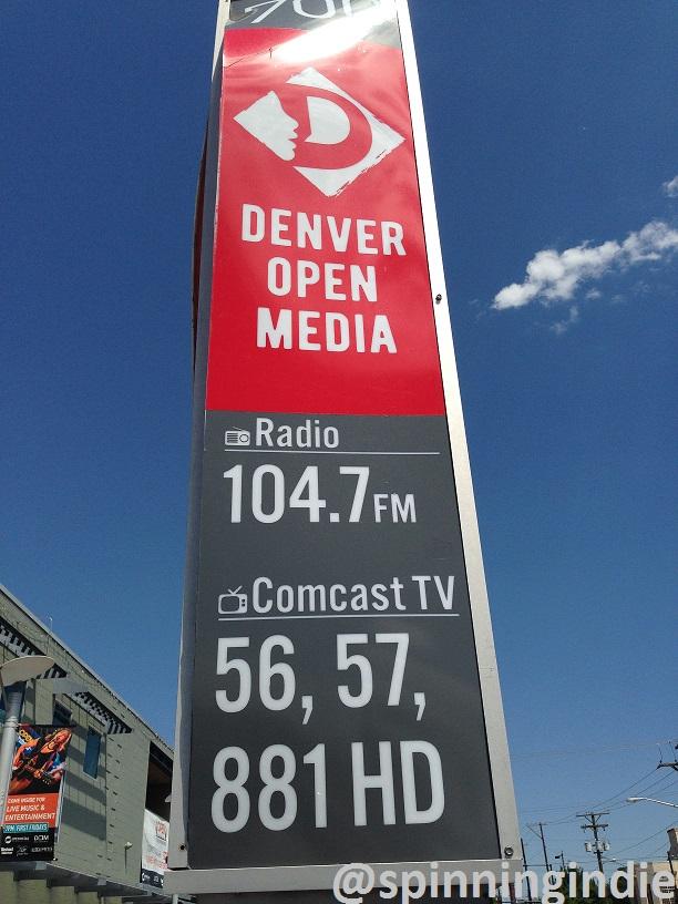 Sign for Denver Open Media and its LPFM station KOMF-LP. Photo: J. Waits