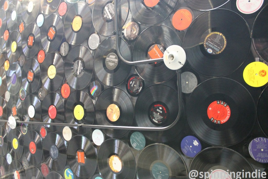 Records on the ceiling at Radio 1190. Photo: J. Waits