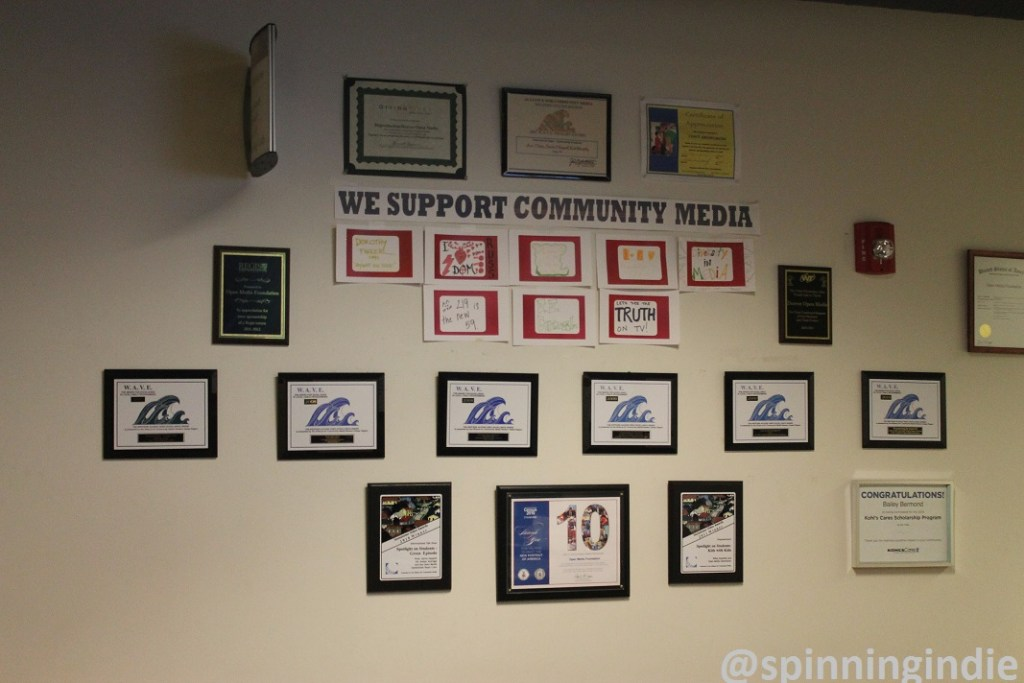 """""""We Support Community Media"""" on Wall at Open Media Foundation. Photo: J. Waits"""