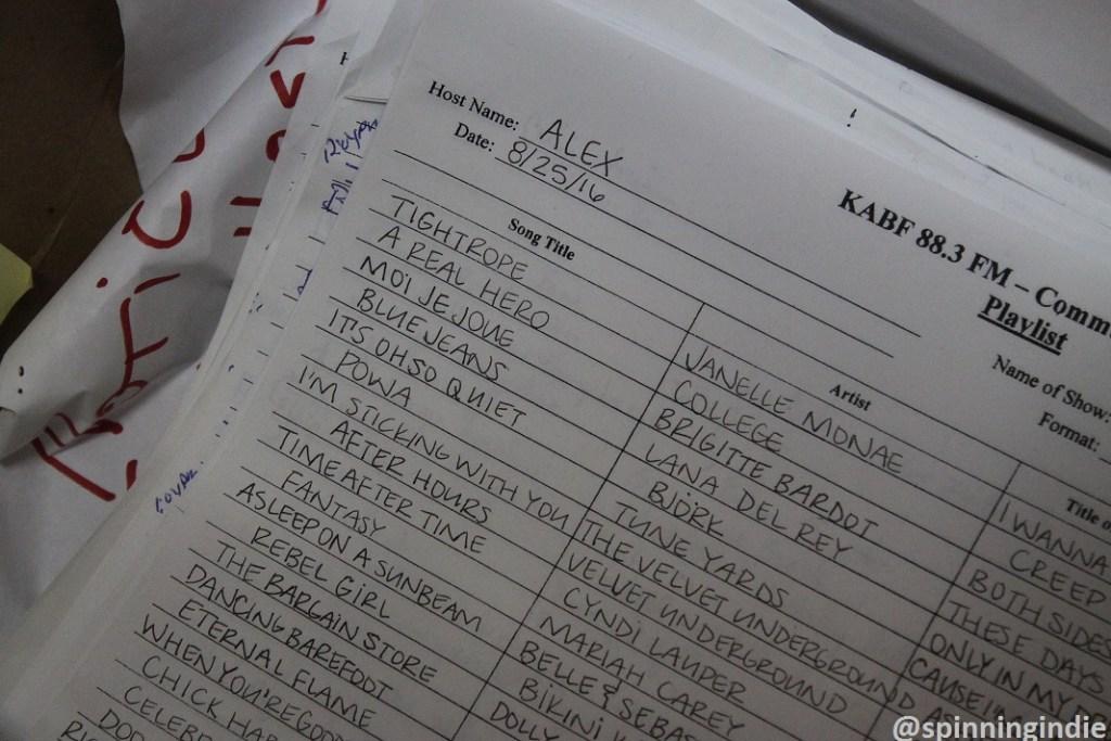 Paper playlist at community radio station KABF. Photo: J. Waits