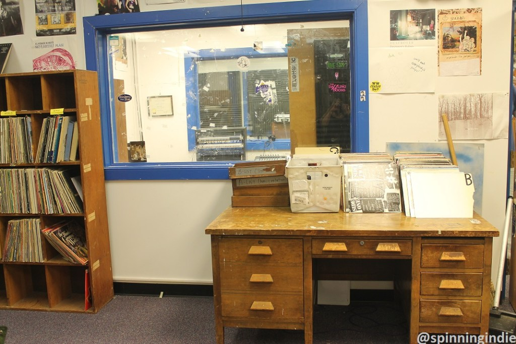 View from WCWM lobby/record library into live studio. Photo: J. Waits