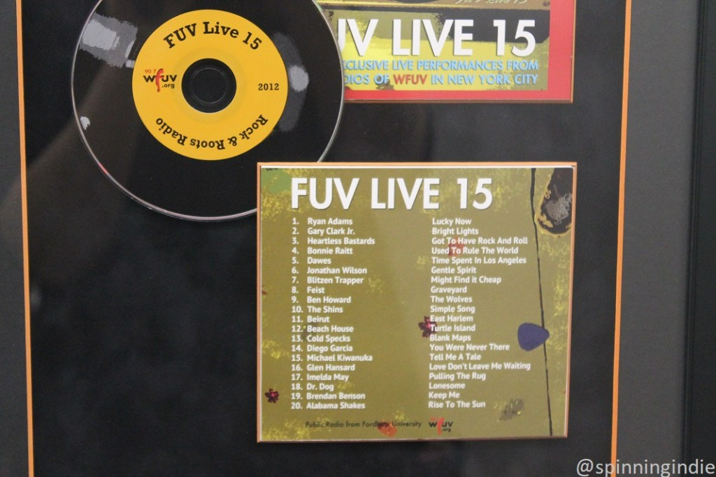 FUV Live compilation displayed on wall at WFUV. Photo: J. Waits
