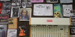 Wall at college radio station WVAU. Photo: J. Waits