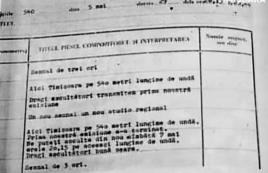 Fișa primei emisiuni transmise din Timișoara, 5 mai 1955