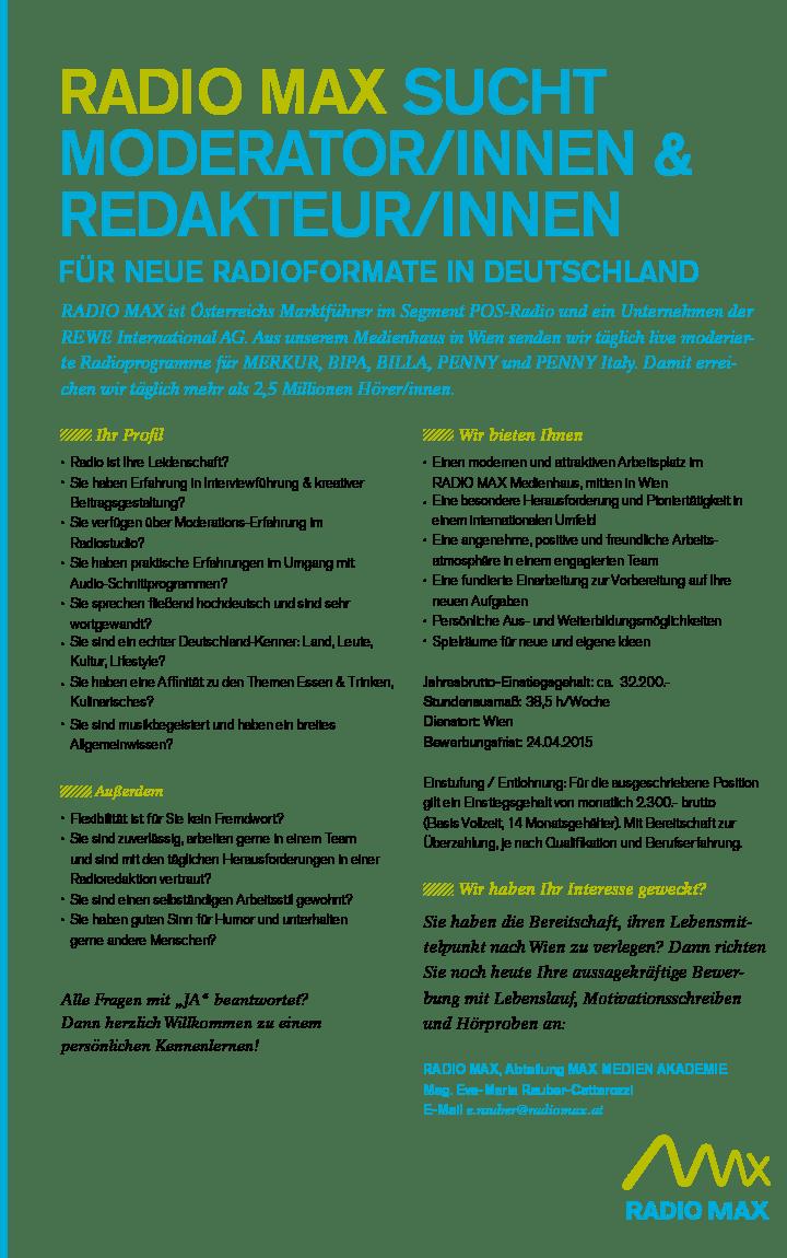 RADIO MAX sucht Moderator/innen & Redakteur/innen für neue Radioformate in Deutschland