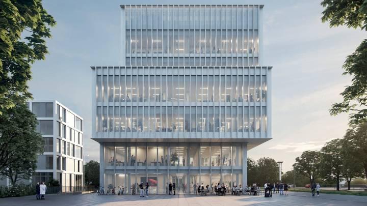 Animation des geplanten Studio-Neubaus in Mannheim/Ludwigshafen, Außenansicht © SWR