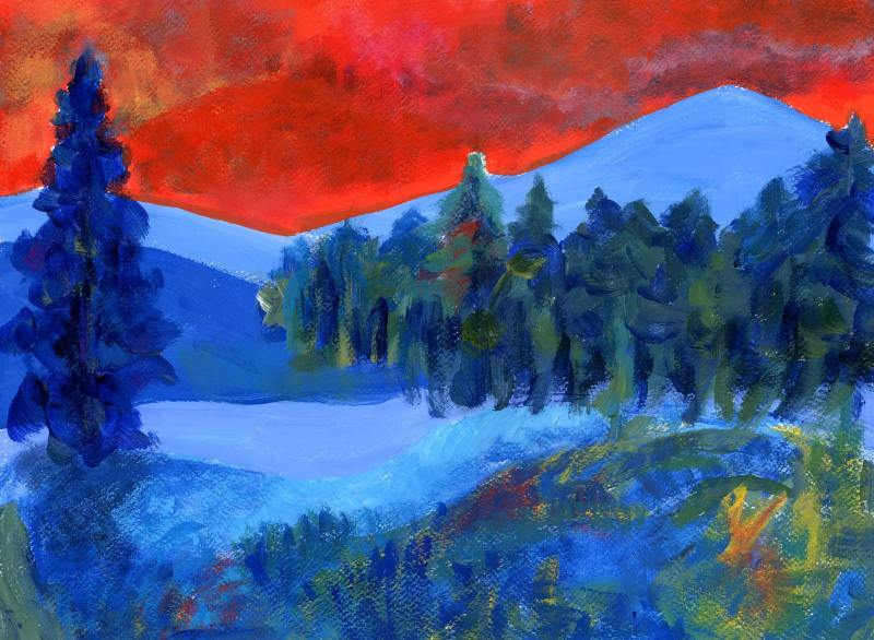 Blue hills Acrylic on paper contemporary art Abstract Landscapes