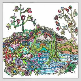 AdelaHartingerova FantasticLandscapes ColoringBook ColoredIllustration
