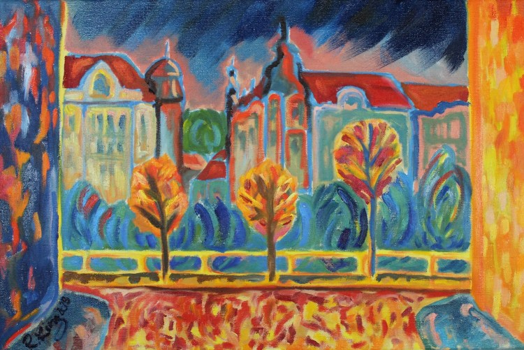 Contemporary painting oil on canvas Autumn riverbank Prague