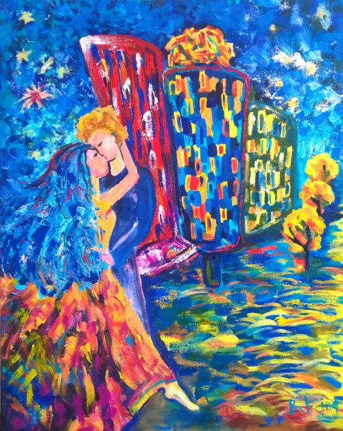 Kiss Acrylic on canvas Prague Dancing House contemporary painting