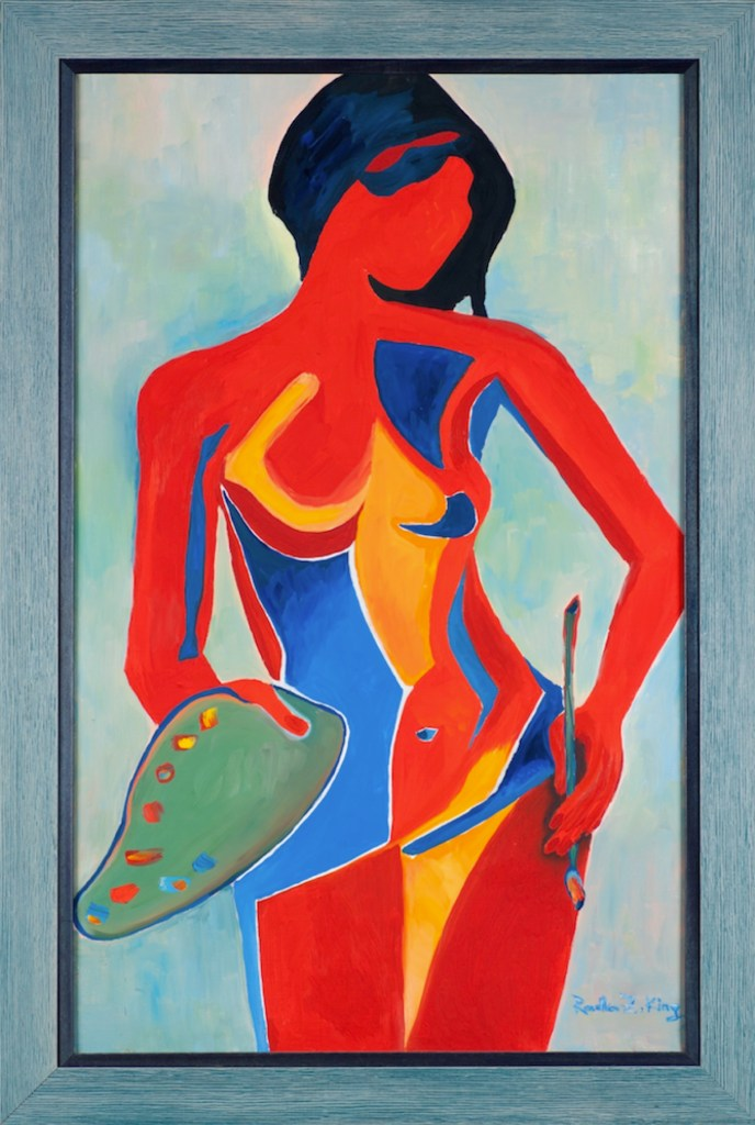 Girl with a palette Nude Oil on canvas contemporary painting