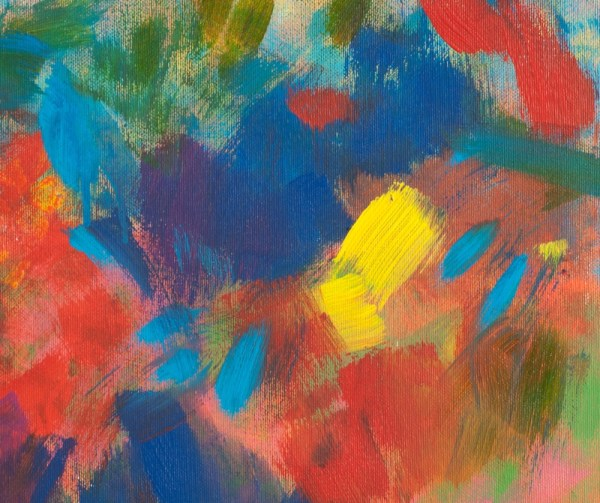 Acrylic Abstract Painting Detail red and blue brush strokes