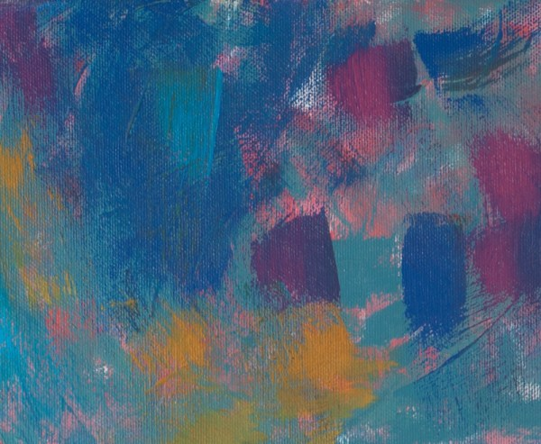 Acrylic Abstract Painting Detail blue brush strokes