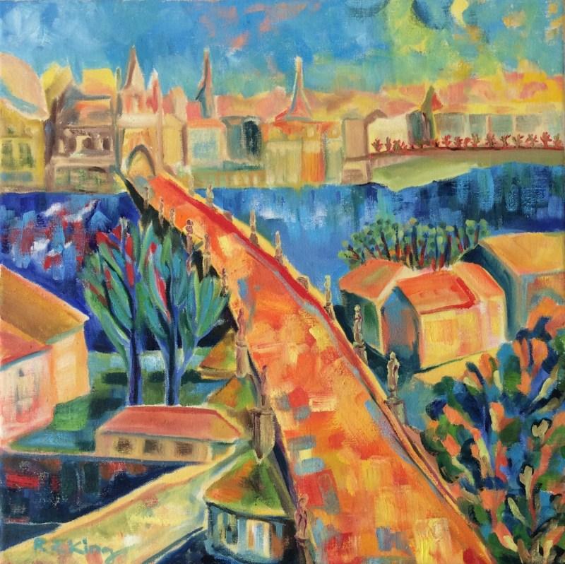 Prague painting Oil on canvas Charles bridge Beloved City