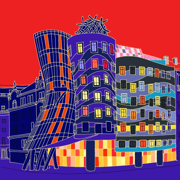 Fine Art Print Graphic Art Dancing House Prague with red sky