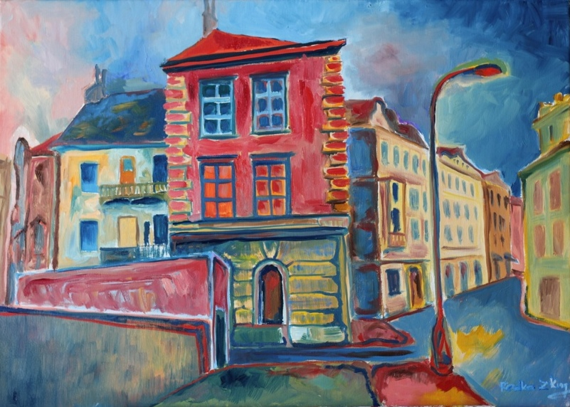 Prague painting oil on canvas Pod Vysehradem