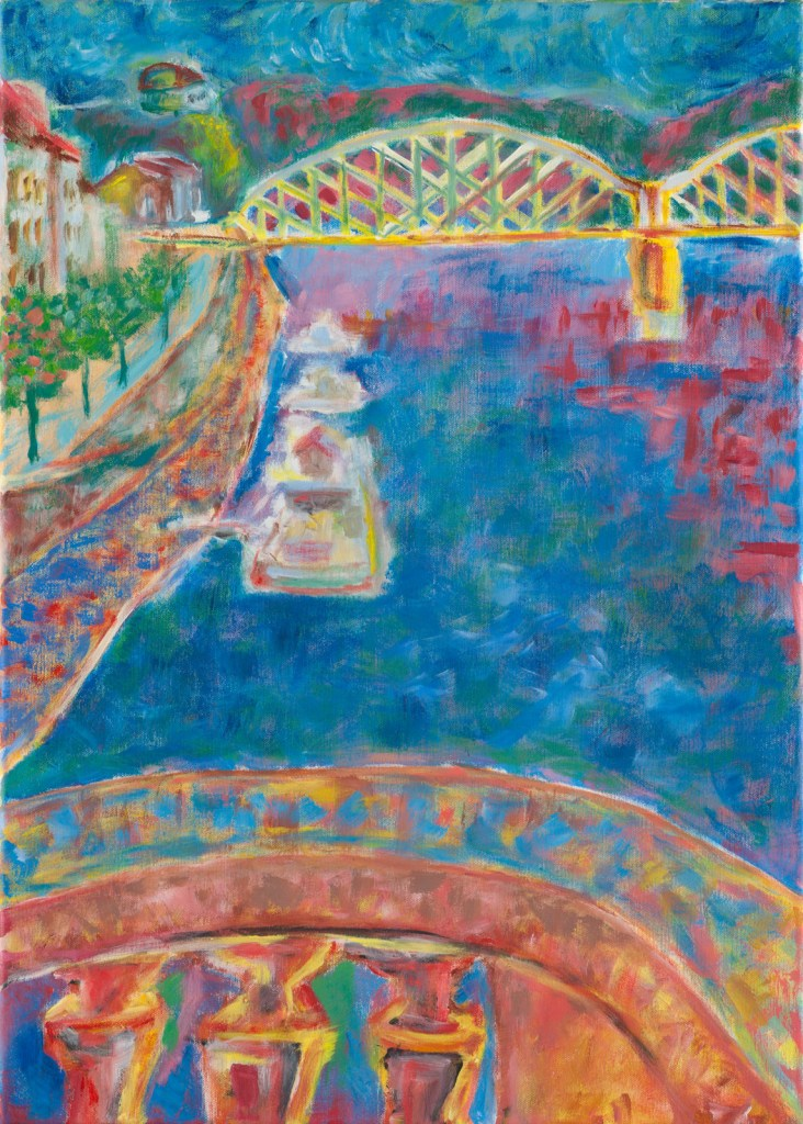 Prague oil painting Riverwalk Bue river and bridges across Vltava