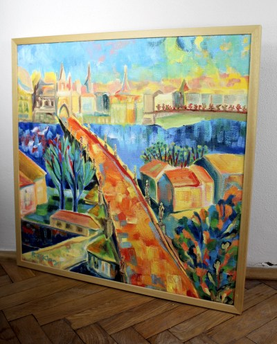Beloved city, Oil on canvas, Prague contemporary painting