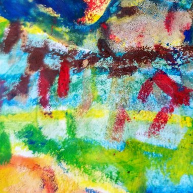 Watercolor Crayon Color sketching Abstract detail lines and washes