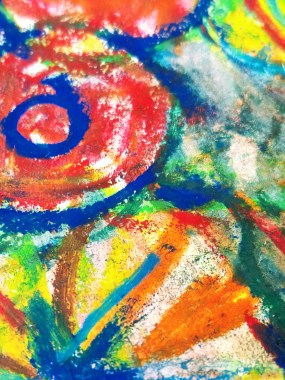 Watercolor Crayon Color sketching Abstract floral design