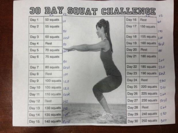 30-Day Squat Challenge flyer