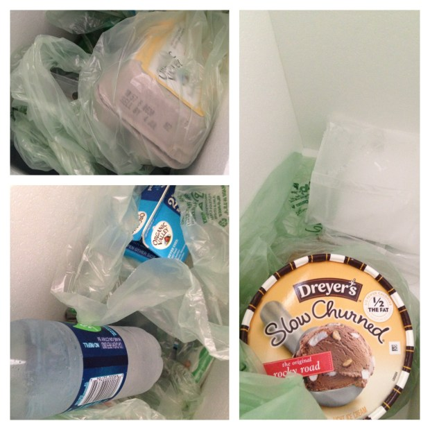 Items that needed refrigeration had frozen bottled water. Frozen items had dry ice.