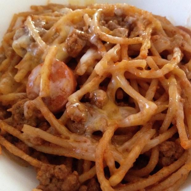 Whole wheat spaghetti, Filipino-style. My Carbo-load for #LAMarathon #filipinofood