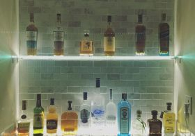 Finally finished the lighting! My big bro loved his illuminated bar alcove. Can't wait to try the #hibiki #japanesewhisky ^_^ #ledlights #whisky #bluelabel #macallan #bombaysapphire #donjulio [instagram]