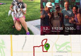 How to make Sierra run slower in 100° weather. Puppies. Make her pose with puppies! ;) #nuunlife #heattraining #tripledigits #roadrunning [instagram]