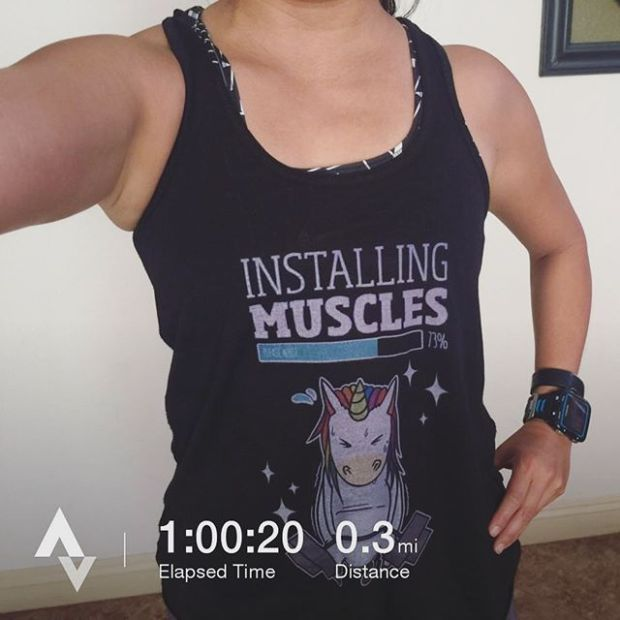 Slowly building up my strength as we did push presses today. Last summer, I PR'd at 65lbs. Today: 30lbs. Also, thanks for the sweet sticker @hutchsbicyclegarage #nuunlife #racewithbase #crossfit #crossfitbeginner