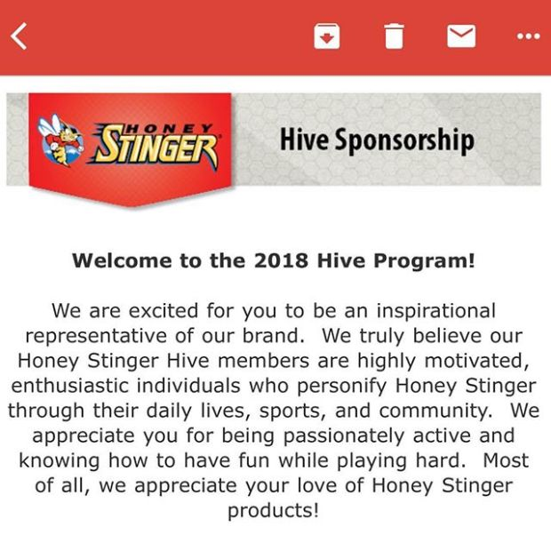 2018 will be a kickarse season! Humbled & stoked to be welcomed into the @honeystinger Hive #hshive