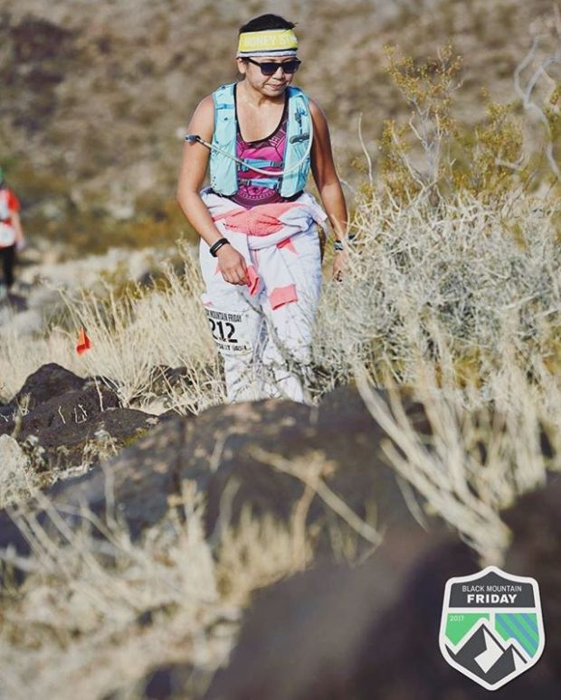 Contemplated life on the trails yesterday. Pondered why the heck I was in a onesie during Vegas' hot spell in autumn. 🤣 Thanks for the photo @desertdashtrailraces #butdidyoudie