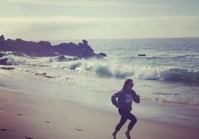 Trail Junkie, Malibu-style (cue Baywatch theme song). But really, this was me after the race & I had the internets again 🤣 [instagram]