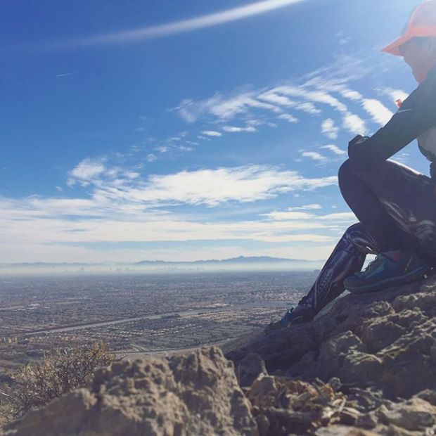 On the last day of 2017, I went for a quick run/hike up Hunter Mountain. As I looked to the horizon, I realised... I was only at the saddle and had a ways to go to reach the peak. Then I got hungry, so I turned around and ran back down. The end lol. #trailrunningvegas #trailjunkie