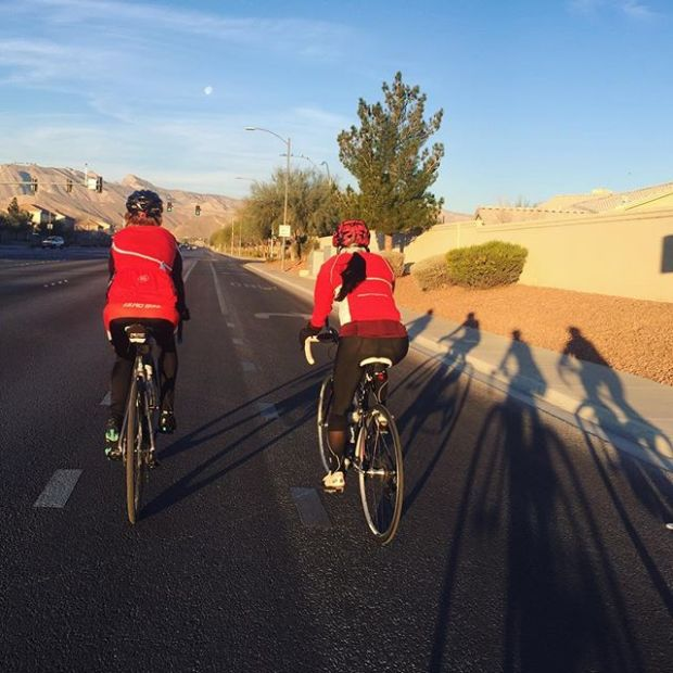 Two riders, four shadows on National Wear Red Day ️ #americanheartassociation